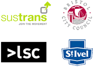 Sustrans, Bristol City Council, Learning Skills Council and St Ivel logos